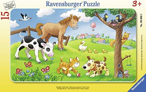 Ravensburger Kinderpuzzle 06066 - Knuffige Tierfreunde - Rahmenpuzzle