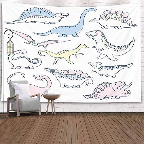 Forest Tapestry, TapestryChristmas Tapestr Tapiz de Pared de Invierno Tapiz de Ciervo para la Sala de Estar Tapiz de Naturaleza Dinosaurios Doodles Set Divertido Cartoon Dino Hand Drawn Doodle Design