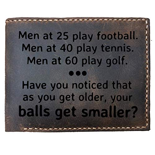 Max&Mori Custom Laser Engraved Leather Bifold Wallet for Men, Best Gift For Coworker,Boss,Birthday,Husband,Boyfriend, 25 Football 40 Tennis Men At 60 Play Golf As You Get Older Your Balls Get Smaller