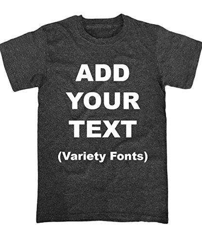 Custom T Shirts Ultra Soft Add Your Text for Men & Women Unisex Cotton T Shirt [Charcoal/XL]