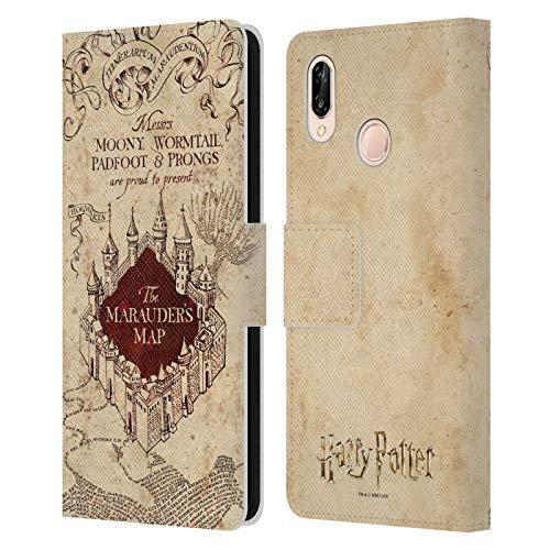 Head Case Designs Officiel Harry Potter The Marauder's Map Prisoner of Azkaban II Coque en Cuir à Portefeuille Compatible avec Huawei P20 Lite