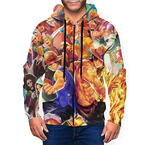Sudadera con capucha para hombre con cremallera completa, hip hop con capucha y diseño gráfico