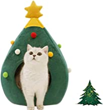 Ushang Indoor Doggy House Christmas Decor Cat House Portable Green Pet House Dog Bed Cat Cave Tent 15 x 15 x 23.6 Inch