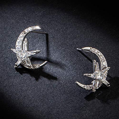 Boucles d'oreilles vacances lune étoile ronde coréenne boucles d'oreilles en zircon argent oreille ornements pour femmes et filles accessoires de mariage