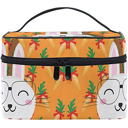 Make-uptas schattige Easter Rabbit Carrot draagbare grote cosmetische toilettas Train Case Organizer Box Pouch