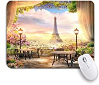 ECOMAOMI 可愛いマウスパッド パリのバルコニーカフェからの美しい景色 滑り止めゴムバッキングマウスパッドノートブックコンピュータマウスマット