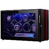 Enrollador de Reloj para 8 Relojes Caja vibradora de Reloj Premium, Motor súper silencioso, LCD...