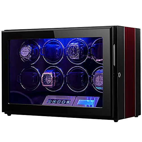 LOEAPEA - Caja de reloj para 8 relojes, motor súper silencioso, Smart LCD Touch, modo TPD gira, luz LED, el hogar de los elegantes enrolladores automáticos de reloj - LOEAPEA