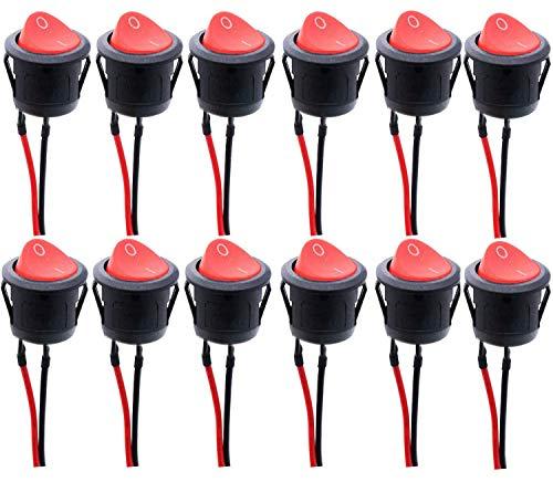 RUNCCI-YUN 12 pcs Interruptores Basculantes Redondo, interruptor basculante 2 pin,SPST interruptores basculantes,color negro,con alambres previamente soldados (6 A - 125 V CA, 3 A - 250 V)
