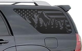 USA Flag w//Mountain Scene Decals For 1997-2006 Jeep Wrangler TJ 2 Door only Hardtop Windows Custom Design QR2-TJ1.A