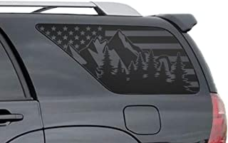 Outdoor Forest Mountain Scene USA Flag Decals for Toyota 4Runner in Matte Black for side windows Fits 2002-2009 - FR27.MA