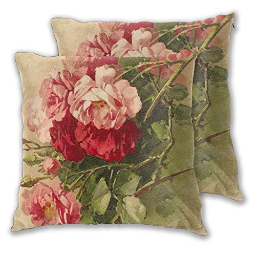 VINISATH Juego de 2 Fundas de cojín,Elegante Flor Color de Rosa Estilo Victoriano Pasado de Moda,Decorativa Cuadrado Suave Funda de Almohada Sofá Sillas Cama Decoración para Hogar,45x45cm