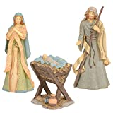 Enesco Foundations Holy Family Nativity Figurine Set, 10, 9.25 and 4.25 Inch, Multicolor