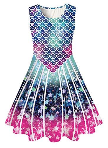 chicolife Kinder mädchen Regenbogen Kleider Tier Print Baumwolle Sommer Tunika ärmellose Kleid