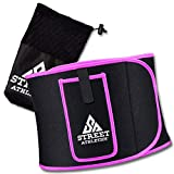Street Athletics Waist Trimmer - Slimming Waist Trainer Belt for Women - Stomach Wrap for Weight Loss, Sweat, Posture & Back Support - Adjustable Belly Shaper Workout Band Tummy (Hot Pink, Medium)