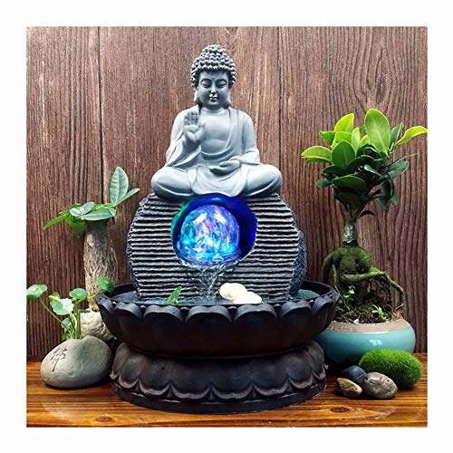 Indoor Water Fountain Buddha Statue Waterfall Ornaments with Colorful Crystal Ball, Great for for Office, Living Room, Bedroom(20.5X28cm)