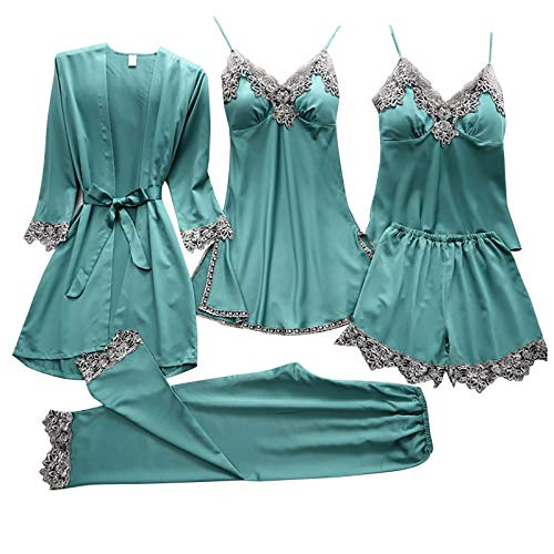 OutTop Women Sexy Lingerie Sets 5pcs Floral Lace Trim Satin Cami Dress Comfy Pajamas Sleepwear Nightgowns with Robe (Green, L)