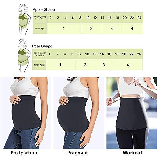 JMITHA 2pcs Banda de Vientre para Mujeres Embarazadas Extensor de Cintura Sin Costura + 4 Botón de extensión Ajustable para Pantalones (Negro + Blanco, L)