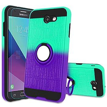 ATUMP Galaxy J7 2017/ J7 V/ J7 Prime/ J7 Perx/ J7 Sky Pro/Halo Case with HD Screen Protector 360 Degree Rotating Ring Holder Kickstand Bracket Cover Phone Case for Samsung Galaxy J7V Mint/Purple