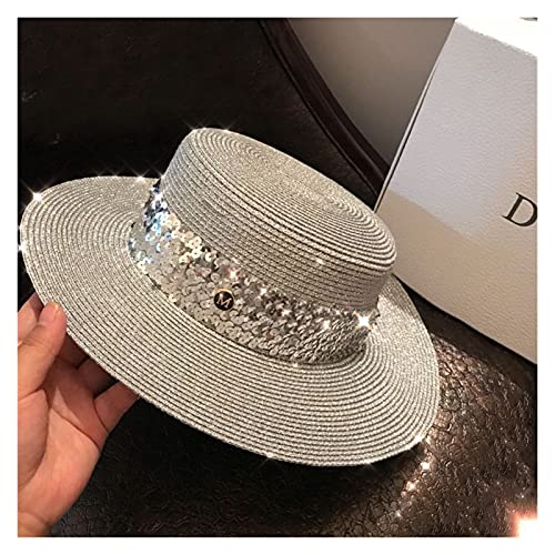 TangMengYun Sombrero de verano estilo sombrero de paja para mujer, ala ancha, protección solar, sombrero de playa de alambre plateado para mujeres y mujeres (color: plata, tamaño: ajustable)