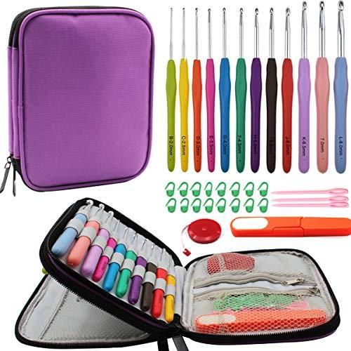YAOYUE Set of 38pcs Crochet Kit-12 pcs Extra Long Ergonomic Crochet Hook Set Size 2mm-8mm Knitting Needles with Storage Bag and Crochet Accessories (Purple)
