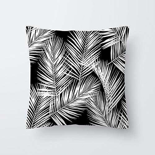 Dollin&Dockin vierkante kussensloop zwarte en witte bladeren perzik huid gedrukt huiskussen leuke decoratie geschikt voor bank slaapkamer woonkamer auto beschermhoes kleur 19