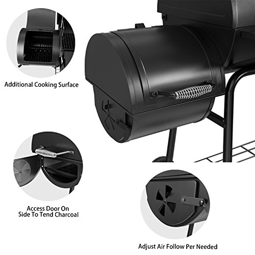 Royal Gourmet 30 showing how a firebox attaches to the side of an oil tank smoker that you can build yourself
