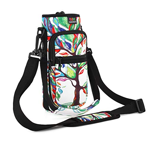 Nuovoware Water Bottle Carrier Bag, Bottle Pouch Holder, Adjustable Shoulder Hand Strap 2 Pocket Sling Neoprene Sleeve Sports Water Bottle Accessories for Hiking Travelling Camping - Lucky Tree