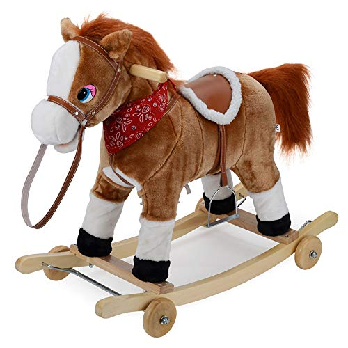 Kibten Children's Rocking Horse with Pulley, Wooden Rocker Animal Toy Fun Rider for Toddler Kids, Plush Stuffed Rocking Pony Christmas Birthday Gift for Boy Girl Child (Color : Brown)