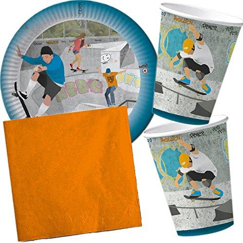 DH Konzept/Carpeta 37-teiliges Partyset * Skatepark * mit Teller + Becher + Servietten + Deko // Geburtstag Set Partygeschirr Deko Party Mottoparty Motto Skaten Skateboard Sport
