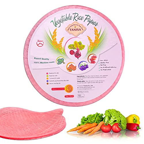 TANISA Beetroot Spring Roll Rice Paper Wrappers for Fresh Roll - Non-GMO, Gluten-free, Made in Vietnam - 1 Pack, Round, 8.7 Inches, 7 Oz (Banh Trang Goi Cuon)