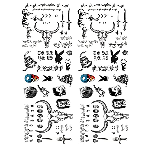 Kotbs 4 Sheets Temporary Tattoos for Men, Waterproof Halloween Face Tattoo Stickers for Women, Temporary Tattoo Body Art Fake Tattoo for Halloween Costume and Parties