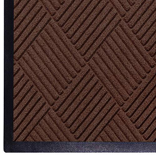 WaterHog Diamond | Commercial-Grade Entrance Mat with Rubber Border – Indoor/Outdoor, Quick Drying, Stain Resistant Door Mat (Dark Brown, 3