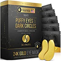 24K Gold Eye Mask– Puffy Eyes and Dark Circles Treatments – Look Less Tired and Reduce Wrinkles and Fine Lines Undereye,...