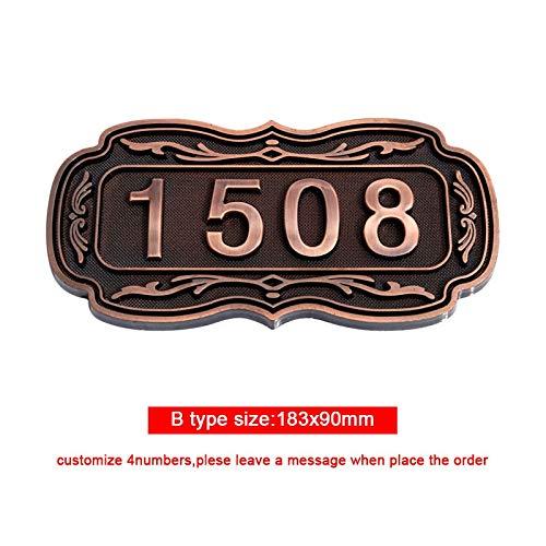 Juyue nummerplaat, ABS, huis, kunststof, nummerplaat, zelfklevend, deurplaat, cijferplaat voor deuren, hotel, 3 – 4 nummers