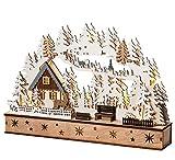 Wichtelstube-Kollektion LED Schwibbogen, Lichterbogen Weihnachten mit Timer, Echtholz, Schwippbogen Winterhaus