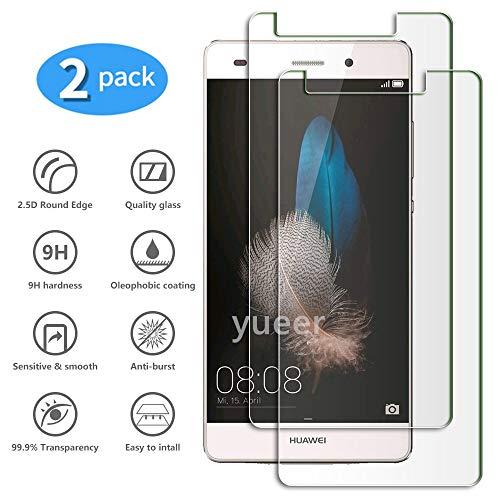yueer [2 Piezas para Huawei ALE-L21 P8 Lite Protector de Pantalla,[ 9H Dureza ][Alta Definicion] Cristal Templado para Huawei ALE-L21 P8 Lite.
