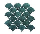 FUNWALTILES Fish Scale Design Premium Peel and Stick Wall Tile Backsplash,10X10in,10Sheets,Green