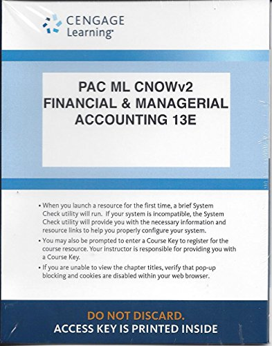 Cengage Now 2 Semester Printed Access Card for Warren Financial & Managerial Accounting, 13e