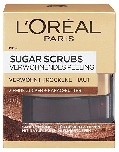 L\'Oréal Paris Sugar Scrubs Verwöhnendes Gesichtspeeling, sanftes Peeling mit natürlichen Zuckerkristallen und Kakao-Butter, mildert trockene Hautstellen, 50ml