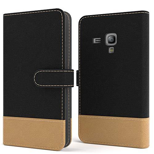 EAZY CASE Tasche für Samsung Galaxy S3 Mini Stoff Schutzhülle mit Standfunktion Klapphülle im Bookstyle, Handytasche Handyhülle Flip Cover mit Magnetverschluss & Kartenfach, Kunstleder, Schwarz