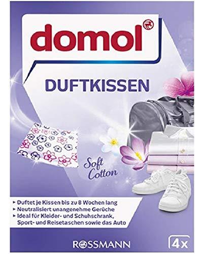 Domol Beutel aus weicher Baumwolle mit bis zu 8 Wochen Duft pro Kissen, 1 Packung mit 4 Stück