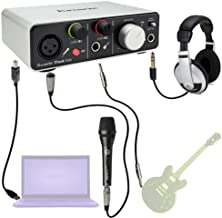 Focusrite iTrack Solo iPad Vocal/Guitar Player Bundle with Headphones Mic Cables Case and Mic Stand Bundle