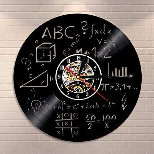 YINU Ciencia Arte matemáticas ecuación Reloj de Pared fórmula matemática Vinilo Registro Reloj de Pared matemáticas Pi Geek Escuela decoración de Pared Regalo de Maestro de matemáticas