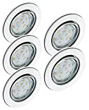 Trango Set de 5 LED regulables Focos empotrables Focos empotrables en cromo TG6729-058GU5SD orientables que incluyen 5x 3 tiempos de atenuación GU10 LED bombillas directamente 230V