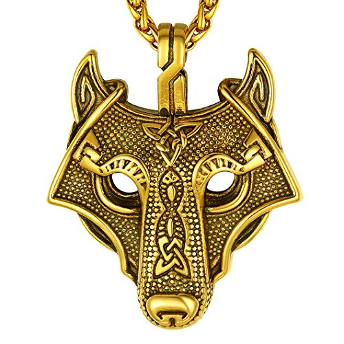 Richsteel Viking Celtic Wolf Head Necklace Nordic Jewelry for Men Women Wolfish Necklaces Amulet