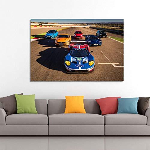 VVSUN HD Leinwand Malerei Ford GT Mustang Fiesta ST Fokus RS Fiesta Fahrzeug Poster Wandkunst Drucke für Wohnzimmer Dekor 60X90cm 24x36inch Kein Rahmen