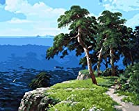 DIY数字油絵 塗り絵キット パズル油絵 青い海と緑の木々 デジタル油絵 手塗り 数字キットによる絵画 絵かき インテリア 壁飾り ホームデコレーション 40x50cm(額縁なし)