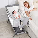 CRZDEAL Bassinet & Bedside Sleepers Lightweight and Mobile with Storage Basket Beside Sleepers for Baby/Infants/Baby Girl/Baby Boy to Reduce Mom's Fatigue