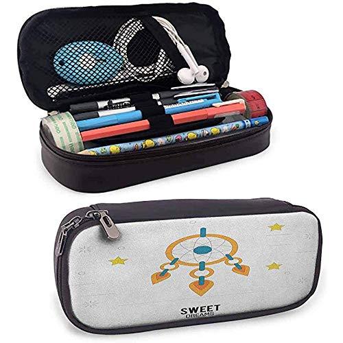 Étui à crayons de maquillage Sweet Dreams Dream Catcher Design avec fond de rayures d'étoiles Étui à crayons Night Doodle
